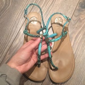 Tory Burch Aqua Thong Sandals Size 40